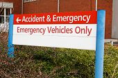 stock photo of triage  - accident and emergency sign at local hospital casualty department - JPG