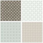 stock photo of cross-hatch  - blue beige brown white square cross hatch clover winter colors geometric seamless pattern set of scrapbook backgrounds - JPG