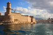 View Of The Marseille From The Sea, Fort Saint Jean In Marseille