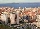 View Of The City Of Marseille And The Mediterranean Sea From A Height