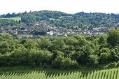 stock photo of dork  - View across the town of Dorking in Surrey - JPG