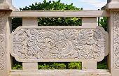 Wall Of Dragon Carved On Stone