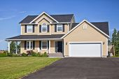 stock photo of garage  - Large family home in a rural area - JPG