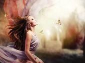 stock photo of butterfly  - Fashion Art Beauty Portrait - JPG