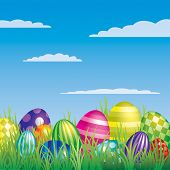 stock photo of pasqua  - Vector Easter eggs hiding in the grass - JPG