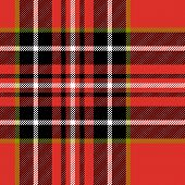 Red black and white tartan traditional fabric seamless pattern, vector