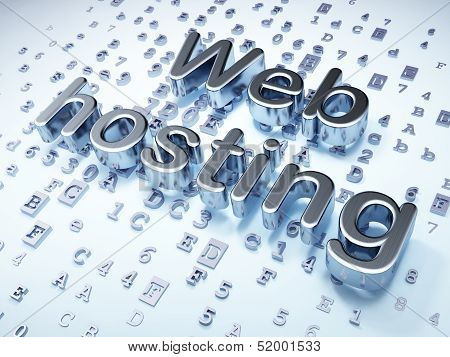 SEO web design concept: Silver Web Hosting on digital background