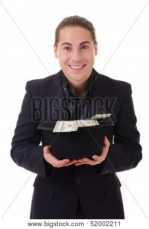 Smiling Man With Money Cash In His Hat