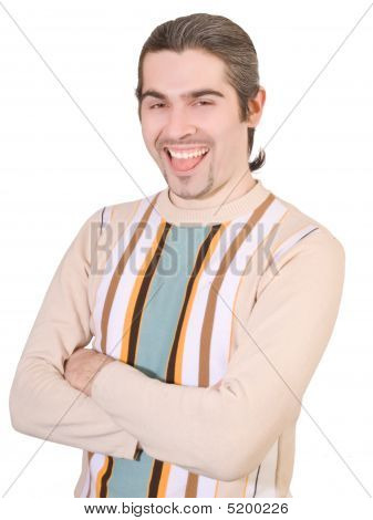 Young Handsome Man In Sweater Shows Tongue Isolated