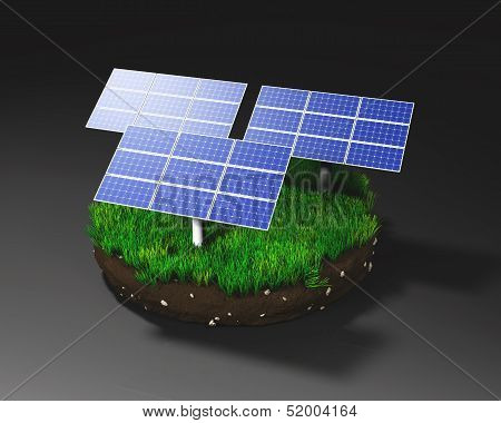 Solar Panels On Clod Of Earth