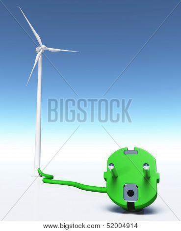 Wind Generator With A Green Plug