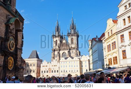 Cityscape of Old Town Square in Prague Jule 27 2013 Czech Republic