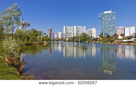 Skyline Uno City Vienna In Summer At The Kaiserwasser