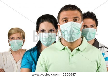 Portrait Of People Protect From Flu