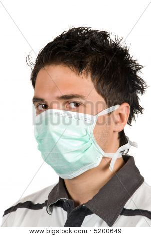 Young Man With Protective Mask
