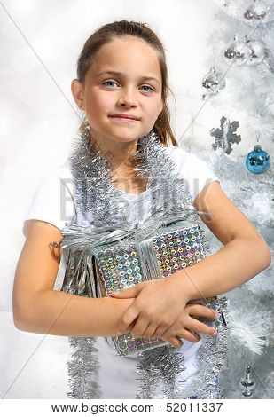 Girl with silver gift