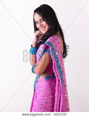 Smiling Indian Girl In Pink Sari