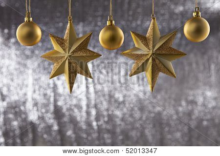 A Group Of Christmas Ball And Star