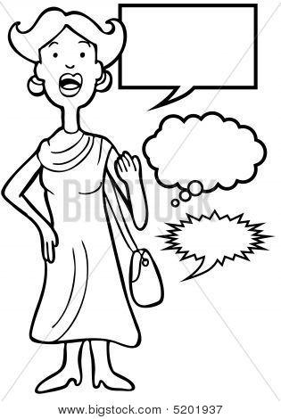 Outspoken Purse Woman Line Art