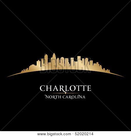 Charlotte North Carolina City Skyline Silhouette Black Background