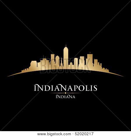 Indianapolis Indiana City Skyline Silhouette Black Background