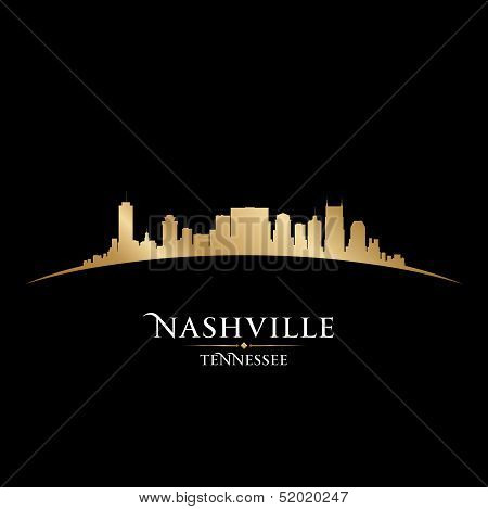 Nashville Tennessee City Skyline Silhouette Black Background