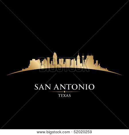 San Antonio Texas City Skyline Silhouette Black Background