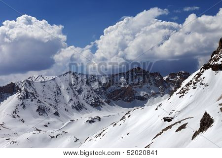Snowy Mountains And Blue Sky With Cloud In Sunny Spring Day