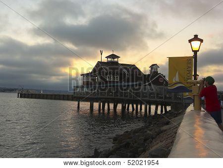 A Restaurant In Seaport Village At Dusk
