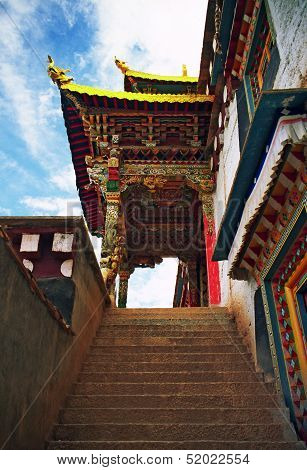 Beautifully Painted, Ornamental Gate To A Tibetan Monastery In Xiancheng, China