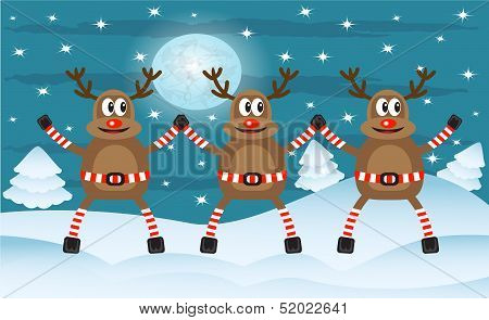 Three Christmas deer