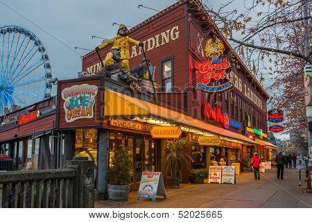 Seattle Waterfront Tourist Nightlife