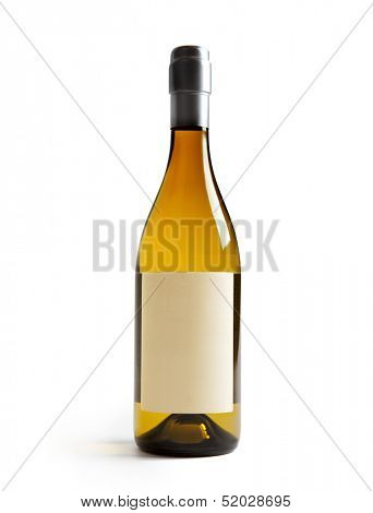 White wine bottle with Blank paper label (real paper). Label is at eye level so inserted elements do not need to be curved (wrapped around) so much. Focus on label. Isolated on white.