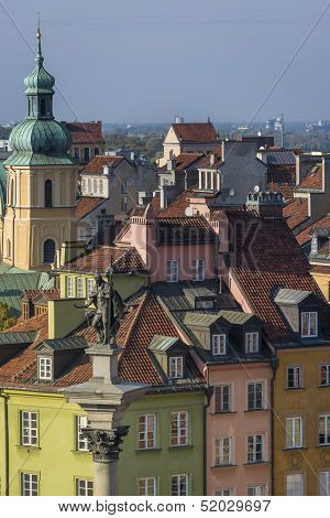 Tenements Facades Of Old Town In Warsaw