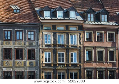 Tenements Facades On Old Town Square Historic District, Warsaw