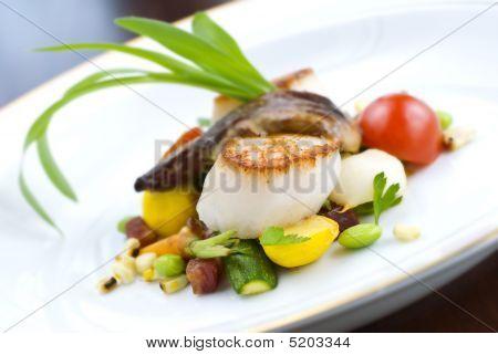 Vieiras e vegetais