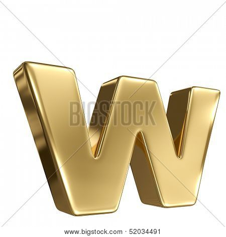 Letter w from gold solid alphabet