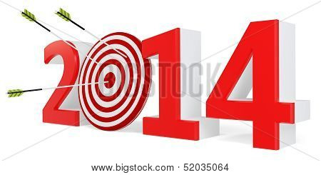3D New Year 2014 With Target And Arrows