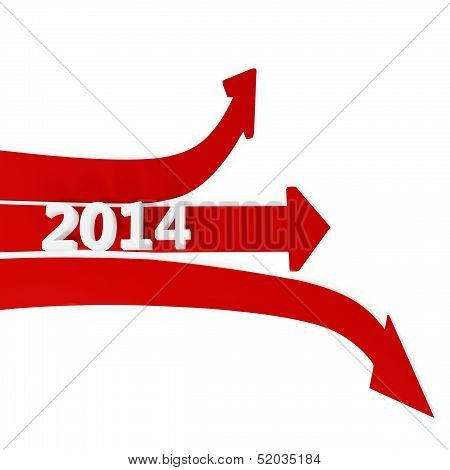 3D Path Arrows With Year 2014
