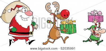 Reindeer, Elf And Santa Claus Carrying Christmas Presents