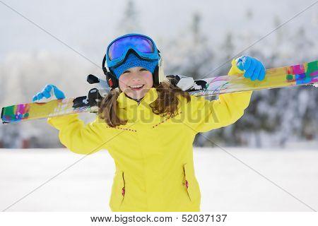 Ski, skier, winter sports - portrait of happy young skier