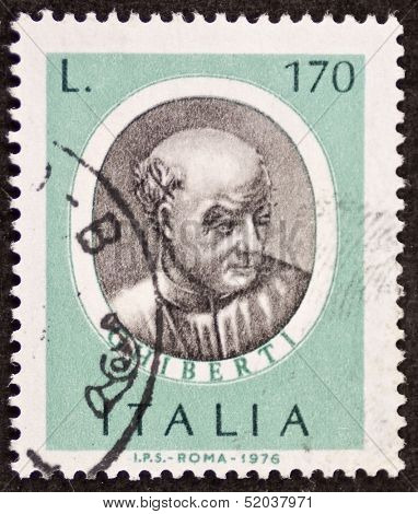 ITALY - CIRCA 1976: a stamp printed in Italy shows image of  Lorenzo Ghiberti (1378 �¢?? 1455) Italian sculptor, goldsmith and architect in Florence. Italy, circa 1976