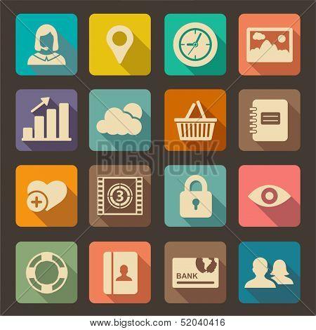 Planas ícones para Web e aplicações móveis