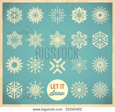 Snowflake winter set. Vector poster