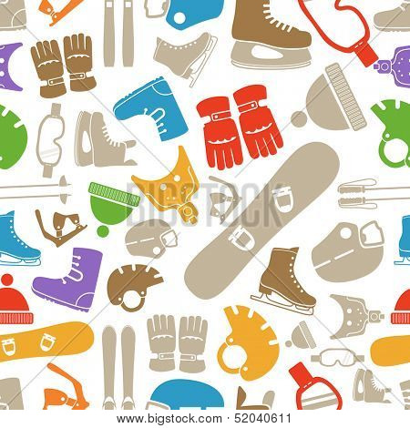 winter sports equipment silhouettes seamless pattern