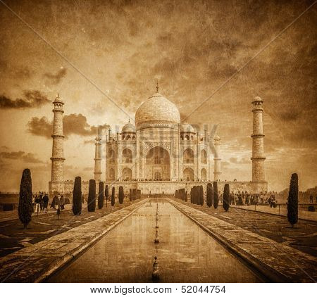 Taj Mahal vintage image. Indian Symbol - India travel background. Agra, Uttar Pradesh, India