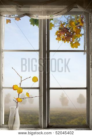 Autumn Landscape Viewed Through Window