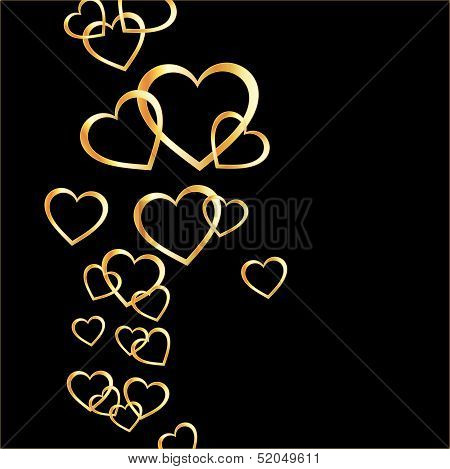Background with golden hearts on black for web