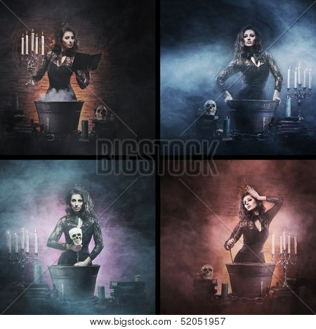 Different photos of young and beautiful witch (Halloween set)