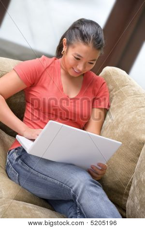 Student Use Laptop At Home